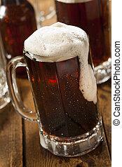 frío, refrescante, raíz, cerveza
