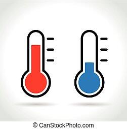 frío, y, caliente, termómetro, iconos