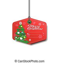 fröhlich, baum, freigestellt, kiefer, weihnachten, etikett, ...
