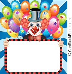 fröhlich, clown, mit, luftballone, besitz, a, plakat
