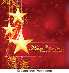 fröhlich, goldener hintergrund, bokeh, sternen, weihnachten, rotes