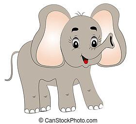 fröhlich, junger, elefant