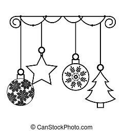 fröhlich, kugeln, weihnachtskarte, glücklich