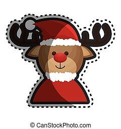 fröhlich, rentier, weihnachtskarte, glücklich