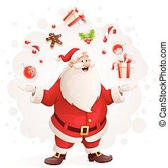 fröhlich, weihnachtsmann, jongliert, mit, weihnachtsgeschenke, und, süßigkeiten, als, magier