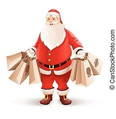 fröhlich, weihnachtsmann, mit, einkaufstüten, käufe, geschenke, und, süßigkeiten, für, weihnachten