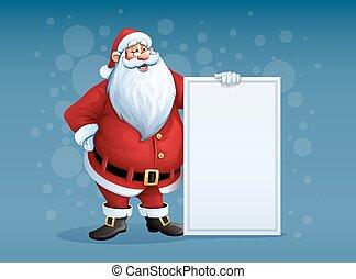 fröhlich, weihnachtsmann, stehende , mit, weihnachten, grüße, banner, in, arm