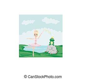 frø, hos, en, bekranse, og, fairy, ballerina