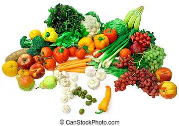 früchte, anordnung, 2, gemuese