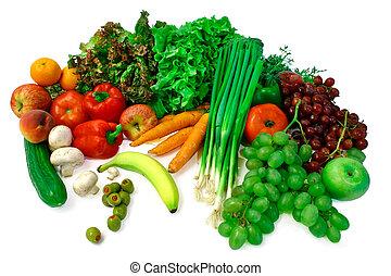 früchte, anordnung, gemuese