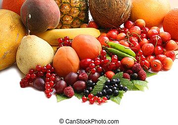 früchte, auf, der, tisch., stilleben