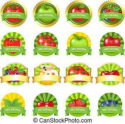 früchte gemüse, etiketten, satz