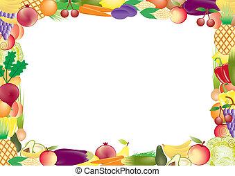 früchte gemüse, vektor, rahmen