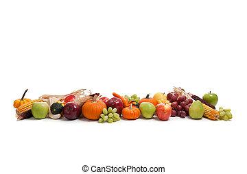 früchte, gemuese, anordnung, herbst