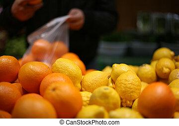 früchte, in, laden, 2