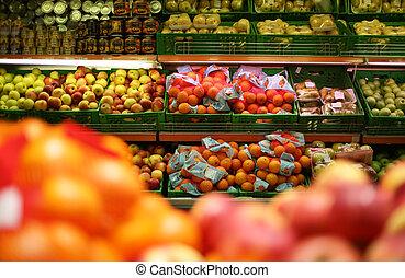 früchte, in, laden