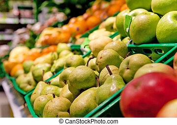 früchte, in, supermarkt