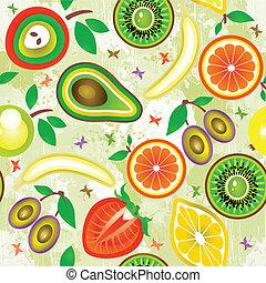 früchte, pattern., seamless, vector., saftig