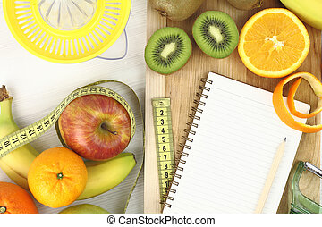 früchte, und, diät
