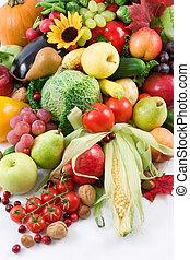 früchte, und, gemüse