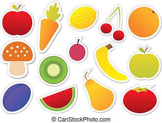 früchte, vektor, gemuese
