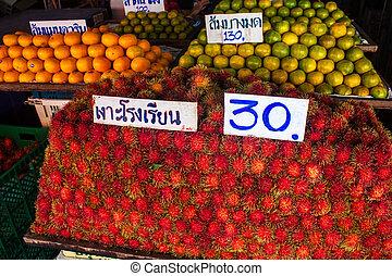 früchte, verkauf, in, kanchanaburi, thailand
