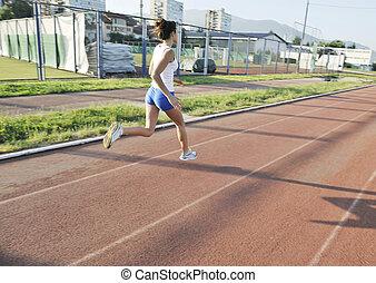früh, jogging, frau, morgen