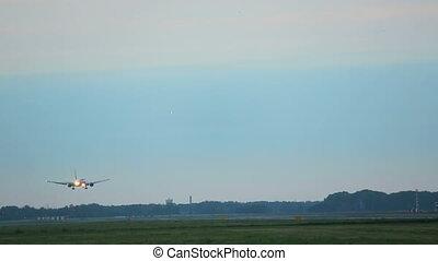 früh, motorflugzeug, Landung, Morgen