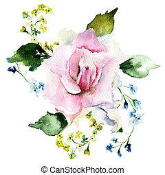frühjahrsblumen, aquarell, abbildung