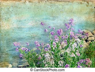frühjahrsblumen, auf, a, grunge, hintergrund