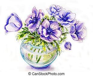 frühjahrsblumen, in, blumenvase, aquarell, abbildung