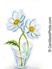 frühjahrsblumen, in, blumenvase, heartshaped, aquarell, abbildung