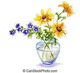 frühjahrsblumen, in, blumenvase