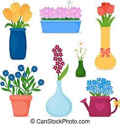 frühjahrsblumen, in, töpfe, und, blumenvase, satz