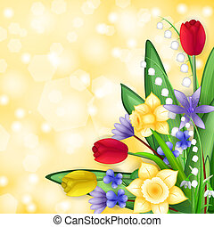 frühjahrsblumen, karte