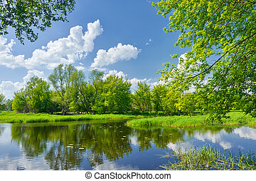 frühlingslandschaft, mit, narew, fluß, und, wolkenhimmel,...