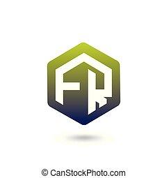 FR Initial letter hexagonal logo vector