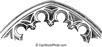 FR Intrados - arches cut-to-date (XV century), vintage engraved illustration. Magasin Pittoresque 1875