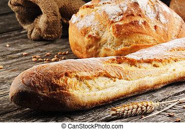fraîchement, cuit, traditionnel, pain français