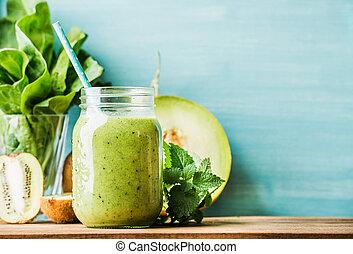 fraîchement, mélangé, vert, smoothie fruit, dans, pot verre, à, paille