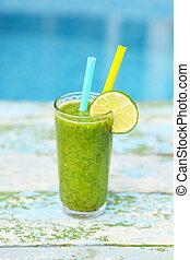 fraîchement, mélangé, vert, smoothie fruit, dans, verre, à, paille