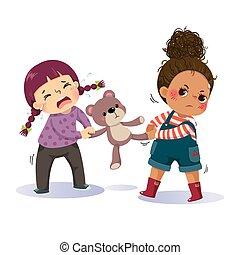 fra, bear., conflitto, ragazze, teddy, poco, cartone animato, vettore, illustrazione, combattimento, due, children., sopra