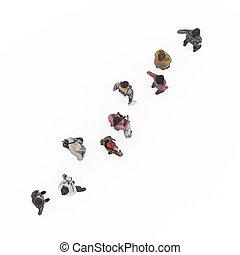 fra oven af, udsigter, i, beliggende, piger, ind, queue., illustration, på hvide, baggrund, 3, gengivelse, isolated.