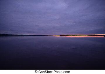 fra, tramonto, bello, spazio, lago blu, acqua, cielo, orizzonte, nubi, azzurro, autunno, superficie