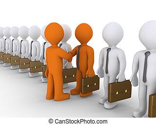 fra, uomini affari, due, cooperazione, scelta