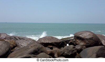 fracas, contre, affleurer, rochers, vagues