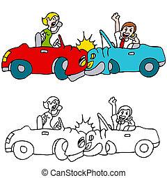 fracas, gens, voiture, cellule, quoique, téléphones, utilisation