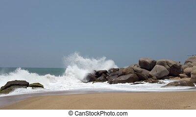 fracas, rochers, 3, contre, plage, vagues