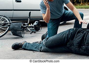 fracas, voiture, appeler, victime, ambulance, homme