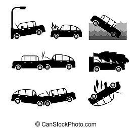 fracas, voiture, set., vecteur, cas, assurance